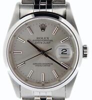 Rolex Datejust Men Stainless Steel Watch Quickset Jubilee Band Silver Dial 16200