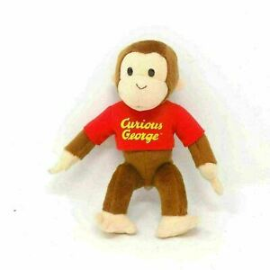 """Applause Vintage Curious George Monkey Red Shirt Stuffed Animal Plush Toy 10"""""""