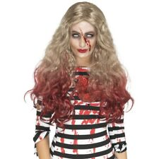 Deluxe Long Blonde Zombie Wig Blood Drip Wavy Halloween Fancy Dress Accessory