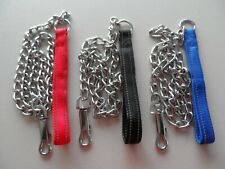 REFLECTIVE  HEAVY DUTY  CHAIN DOG LEAD WITH PADDED COMFORT HANDLE