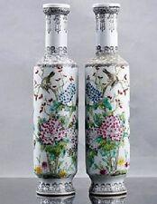 A fine Pair Jurentang Chinese Famille Rose Porcelain Poem Vases Republic period