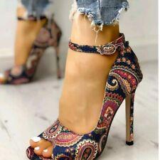 Womens Sexy Peep Toe High Heels Ankle Strap Stiletto Print Sandal Pumps Shoe US8