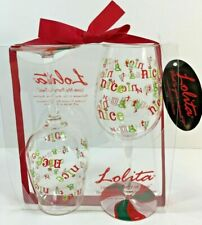 LOLITA Set 2 Acrylic Wine Glasses Holiday Christmas Barware Love My Party Of Two