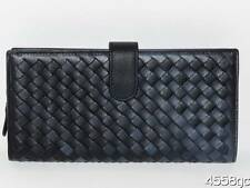 LADIES DESIGNER BLACK SOFT LEATHER WEAVE CLUTCH WALLET-98.00