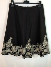 BODEN Size 12 R Wool Blend Embroidered Skirt Brown A-Line Boho