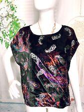 Ecote Womens Medium Black Velvet Paisley Damask Blouse Crop Top Urban Outfitters