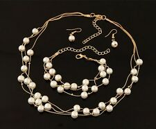 Women Chain Pendant Collar Bib Statement Pearl Necklace Earrings Bracelet Set