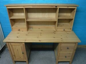 IKEA LARGE SOLID WOOD 156cm WIDE 2DRAWER COMPUTER DESK WITH SHELVES see our shop