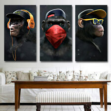Funny Monkey in Accessories 3 PCs Canvas Printing Wall Picture Poster Home Decor