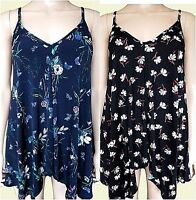 New Ex Oasis Ladies Black or Navy Floral Butterfly Summer Cami Top Size 8 - 16