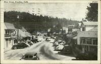Crestline CA Main St. Cars c1940 Postcard