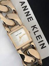 Anne Klein AK/2664CHGB Gold Tone Chain Link Bracelet Square Watch NWT AK2664