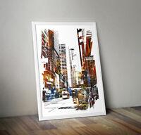 Wall Art Framed, Abstract Cityscape I ready to hang