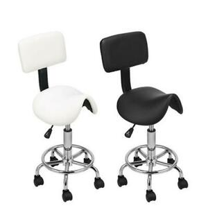 Adjustable Hydraulic Swivel Saddle Stool SPA Salon Rolling Chair With Backrest