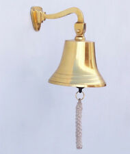 """Brass Plated Solid Aluminum Ship's Bell 5.5"""" Nautical Hanging Wall Decor New"""