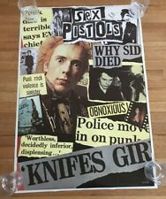 """1990's Sex Pistols Poster With Sid Vicious Made In England 24"""" X 35"""""""