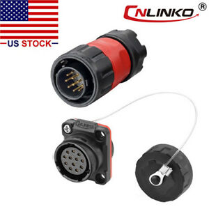 12 Pin Power Signal Connector Male Plug & Female Socket Waterproof Outdoor IP67