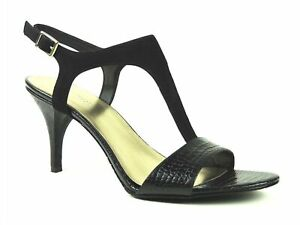 Nine West Women's Gracey-Mai T-Strap Sandals Black Suede/Leather Size 9.5 M