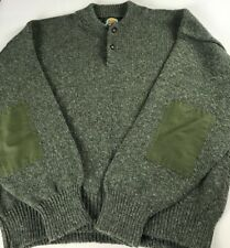 Cabelas Sweater VTG Mens XL USA Made Green Elbow Patches Hunting Wool Blend Knit