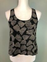 Sparkle & Fade Urban Outfitters Womens Tank Top Blouse Size S Black Beige Silk