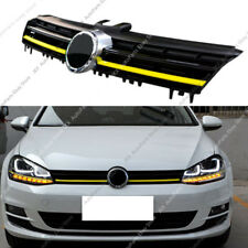 Yellow Chrome Front Bumper Hood Grille Grille Vent Hole For VW GOLF R 2014-17