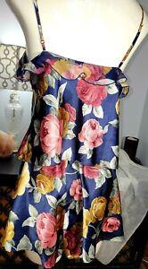 VTG Victorias Secret cami Set 2 romper Lingerie floral SHINY SAtin S-m 80s