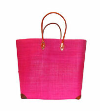 Raffia Fuschia Leather Shopping French Market Basket Bag Moroccan Tote XL