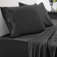 Black Egyptian Cotton XL Set 4-Piece 1800 Thread CountBed Sheets King Size 100%