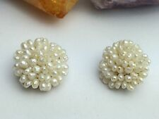 VTG Round Mid-Century Real Cultured Freshwater Pearl Goldtone Clip On Earrings