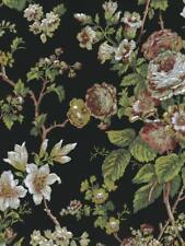 Wallpaper Designer Cottage Red Beige White Green Rose Vine on Black