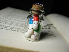 Happy Pills Necklace Glass Bottle Necklace Vial Pendant silver tone
