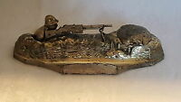 A OUVET silver plate vintage Art Deco antique World War I ink well / pen tray