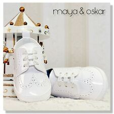 BABY BOYS WHITE PATENT PRAM SHOES CHRISTENING BAPTISM SMART FORMAL PARTY 3-18m