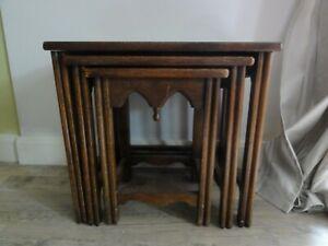 Vintage oak nest of 3 tables