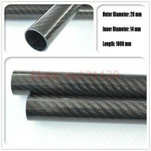 OD 20mm x ID 14mm x 1000mm 3k Carbon Fiber Round Tube Glossy (Roll Wrapped)