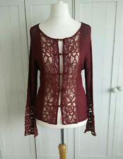 Burgundy Beaded Lace Cardigan Size 10