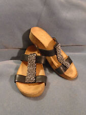 Women's Naya Black Leather Strappy Beaded Sandals Size 4 1/2 M