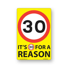 30 Mph Speed Signs 'For A Reason!' [6 X Pack] - A4 Vinyl Stickers, Yellow Bac...