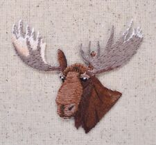 Moose Head - Natural Facing Left Hunting - Iron on Applique/Embroidered Patch