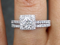 Deal! 1.00 CT NATURAL SOLITAIRE ROUND DIAMOND HALO ENGAGEMENT RING 14K GOLD.
