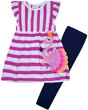 Girls Pink Flamingo Dress Navy Leggings Kids New Set Age 2 3 4 5 6 7 8 Years