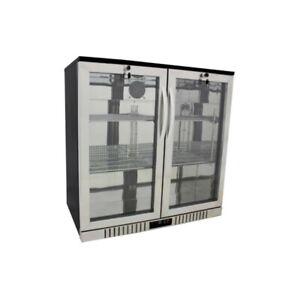 "36"" Wide 2-door Stainless Back Bar Beverage Cooler - Counter Height Refrigerator"