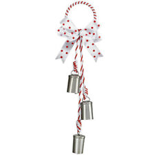 Christmas Cow Bell Door Hanger: Silver, 3.35 x 14 inches w