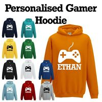 NEW Personalised Boys Girls Kids X-Box PS4 Gaming Hoodie With Name Custom Print