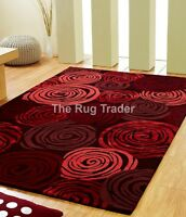 Unique Rose Red Luxury Wool & Viscose Rug in various sizes