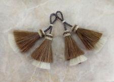 horsehair tassel, Cinnamon/ white, horse hair tassel, Large, double layered