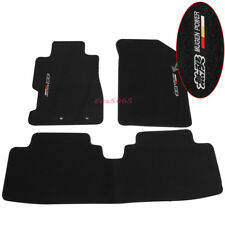 Fits 01-05 Honda Civic Floor Mats Front &Rear Nylon Black 3PCS w/Mugen Embrodery