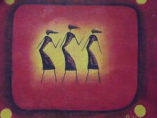 ASTRATTO Nero Uomini Grandi Pittura ad Olio Contemporanea Moderna originale africano rosso