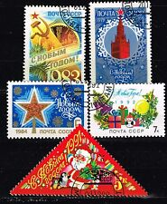 Russia Soviet Happy New Year stamps lot 1970s