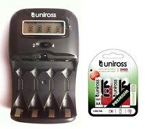 UNiROSS LCD 1-2 HOUR AA/AAA CHARGER & 4 x AA 2400 Series Hybrio Rechargeables